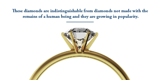 These diamonds are indistinguishable from diamonds not made with the remains of a human being and they are growing in popularity.