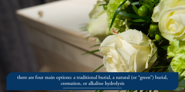 "there are four main options: a traditional burial, a natural (or ""green"") burial, cremation, or alkaline hydrolysis (more about that below)."