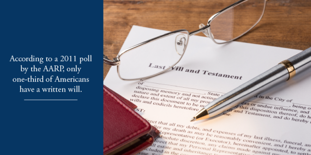 According to a 2011 poll by the AARP, only one-third of Americans have a written will.